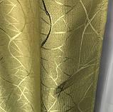 Сонцезахисні штори з льону блекаут Готові штори з льону 100% захист від сонця Оливкові штори, фото 3