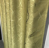 Сонцезахисні штори з льону блекаут Готові штори з льону 100% захист від сонця Оливкові штори, фото 5
