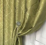 Сонцезахисні штори з льону блекаут Готові штори з льону 100% захист від сонця Оливкові штори, фото 6