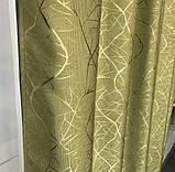Сонцезахисні штори з льону блекаут Готові штори з льону 100% захист від сонця Оливкові штори, фото 7