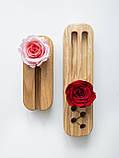 Вузький органайзер Троянда 22*6*4 см для ручок зі стабілізованим мохом для офісу будинку, фото 2