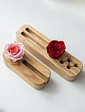 Вузький органайзер Троянда 22*6*4 см для ручок зі стабілізованим мохом для офісу будинку, фото 3