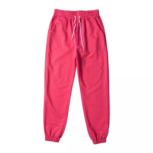 Яркие спортивные штаны с манжетами на высокой посадке