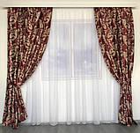 Готовий комплект штор блекаут Штори на тасьмі Штори 150x270 Якісні штори Штори колір Червоний, фото 2