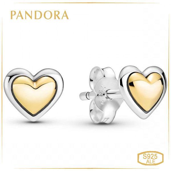 Пандора Сережки-пуссети Золоте серце Pandora 299389C00