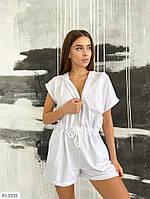 Легкий женский комбинезон шорты на лето с коротким рукавом из двунитки арт 132