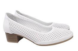 Туфли женские летние на низком ходу из натуральной кожи, белые Phany Турция