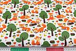 """Лоскут ткани """"Лисички и зелёные деревья"""" на белом фоне, №3209а, фото 3"""