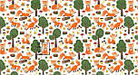 """Клапоть тканини """"Лисички і зелені дерева"""" на білому тлі, №3209а, фото 4"""