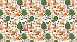 """Лоскут ткани """"Лисички и зелёные деревья"""" на белом фоне, №3209а, фото 4"""