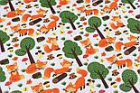 """Лоскут ткани """"Лисички и зелёные деревья"""" на белом фоне, №3209а, фото 5"""