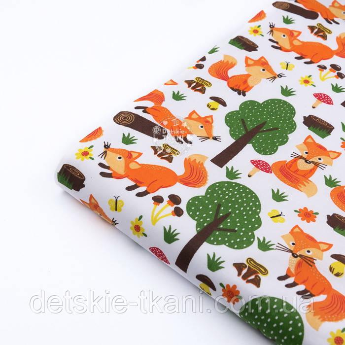 """Клапоть тканини """"Лисички і зелені дерева"""" на білому тлі, №3209а"""