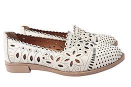 Туфли женские летние на низком ходу из натуральной кожи, бежевые Phany Турция