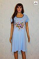 Женская ночная рубашка интерлок с цветами голубая батальная р.44-58