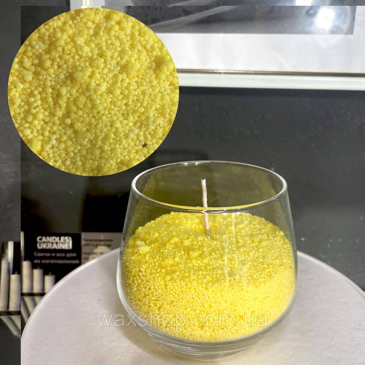 Желтый насыпной воск, насыпная свеча + фитиль  фасовка от 100грамм