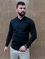 Стильная черная рубашка с коротким воротом, фото 1
