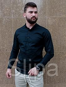 Стильная черная рубашка с коротким воротом