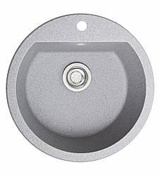 Гранитная кухонная мойка Раунд/Серый