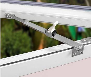 Ограничитель открывания створки металлопластикового окна со стопором нержавейка