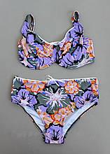 Женский раздельный купальник в цветочный принт р. 48-56