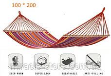 Гамак 100 х 200 из натуральной ткани, гамак анти падение метровая планка, фото 2