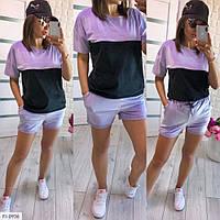 Костюм женский молодежный летний легкий короткий с шортами и футболкой р-ры 42-44,46-48 арт 492