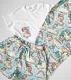 Піжама бавовняна з єдинорогами, футболка і шорти, фото 2