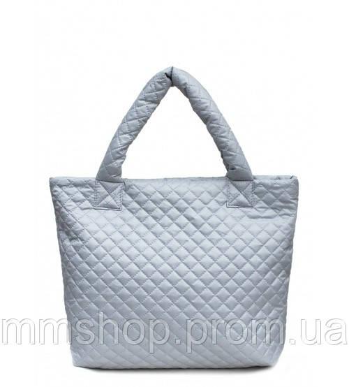 Сумка женская стёганая POOLPARTY Big Eco Bags серая, фото 1