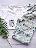 Домашний костюм-пижама с птицами, футболка и штаны, фото 2