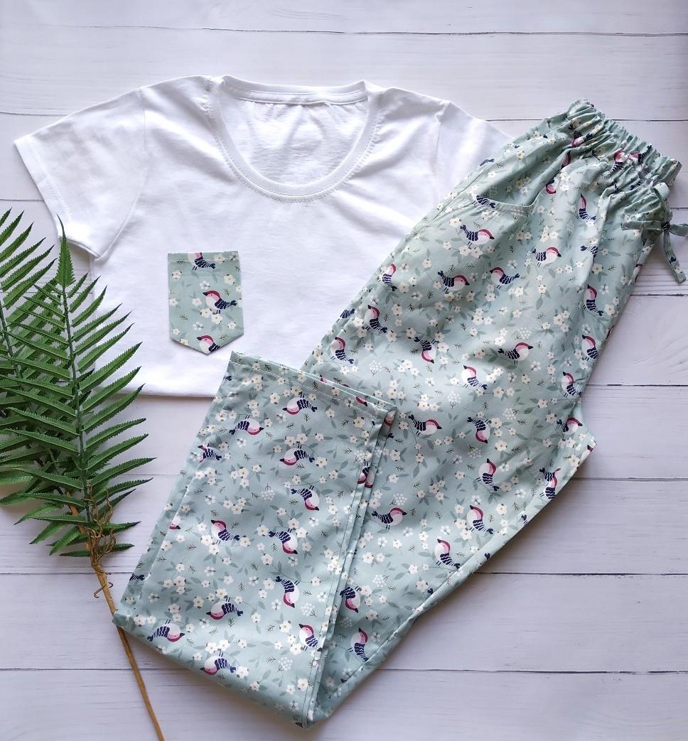 Домашний костюм-пижама с птицами, футболка и штаны