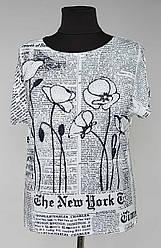 Женская футболка «Natalia New York» с рисунком газеты и цветов