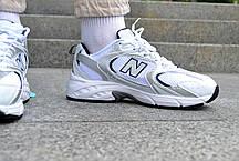 Кросівки чоловічі New Balance 530 White Blue Нью Беланс 530 Білі з Синім Репліка, фото 2