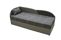Диван-кровать односпальный с подъемным механизмом и бельевым ящиком для подростков Волна Коричнево бежевый