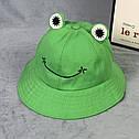 Комплект Взрослая и Детская Панама Жаба (Лягушка) с глазками 2, Унисекс, фото 4