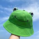 Комплект Взрослая и Детская Панама Жаба (Лягушка) с глазками 2, Унисекс, фото 8