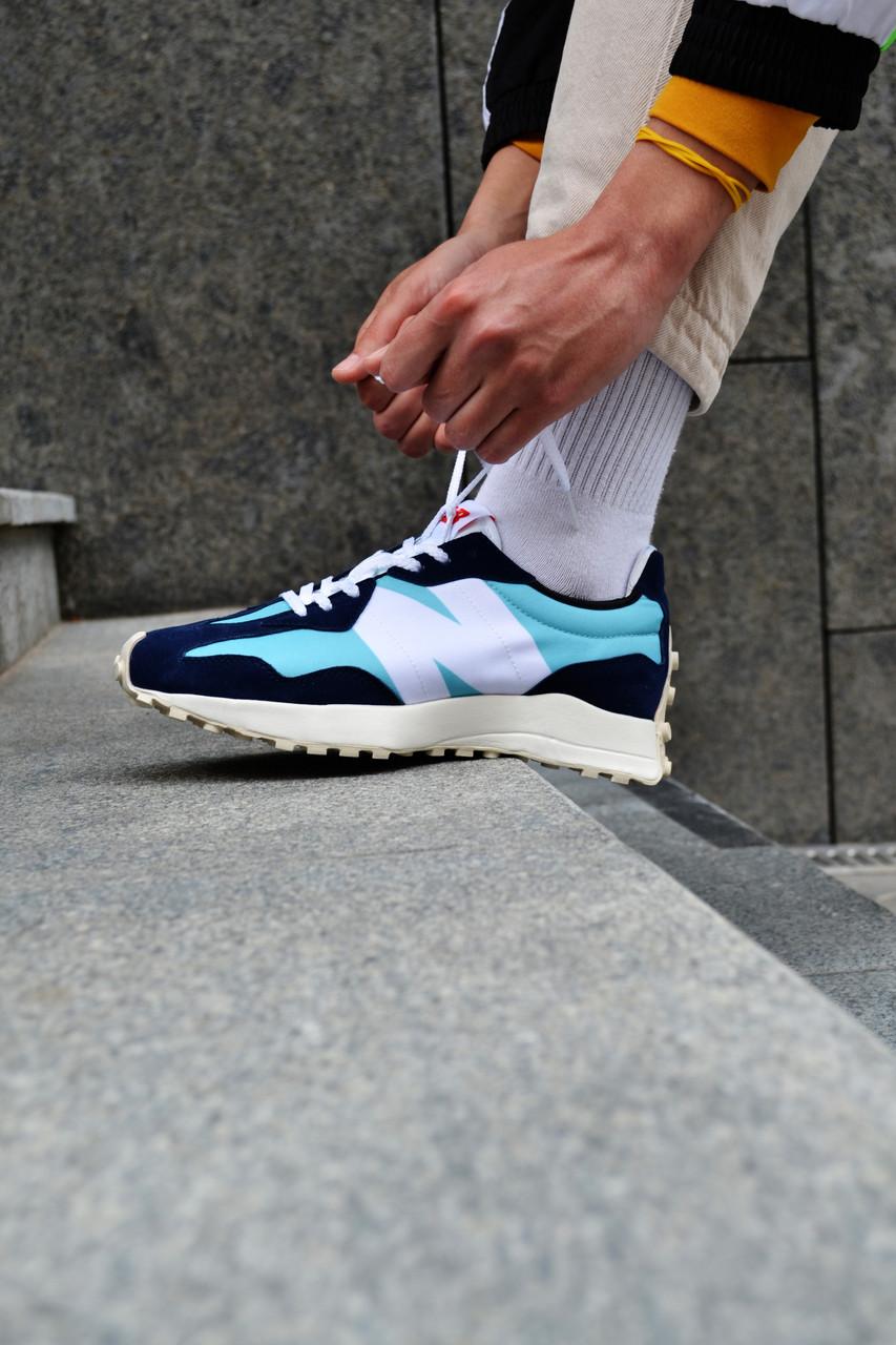 Кросівки чоловічі New Balance 327 Blue Нью Беланс 327 Сині Репліка