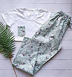 Піжама бавовняна з птахами, футболка і шорти, фото 3