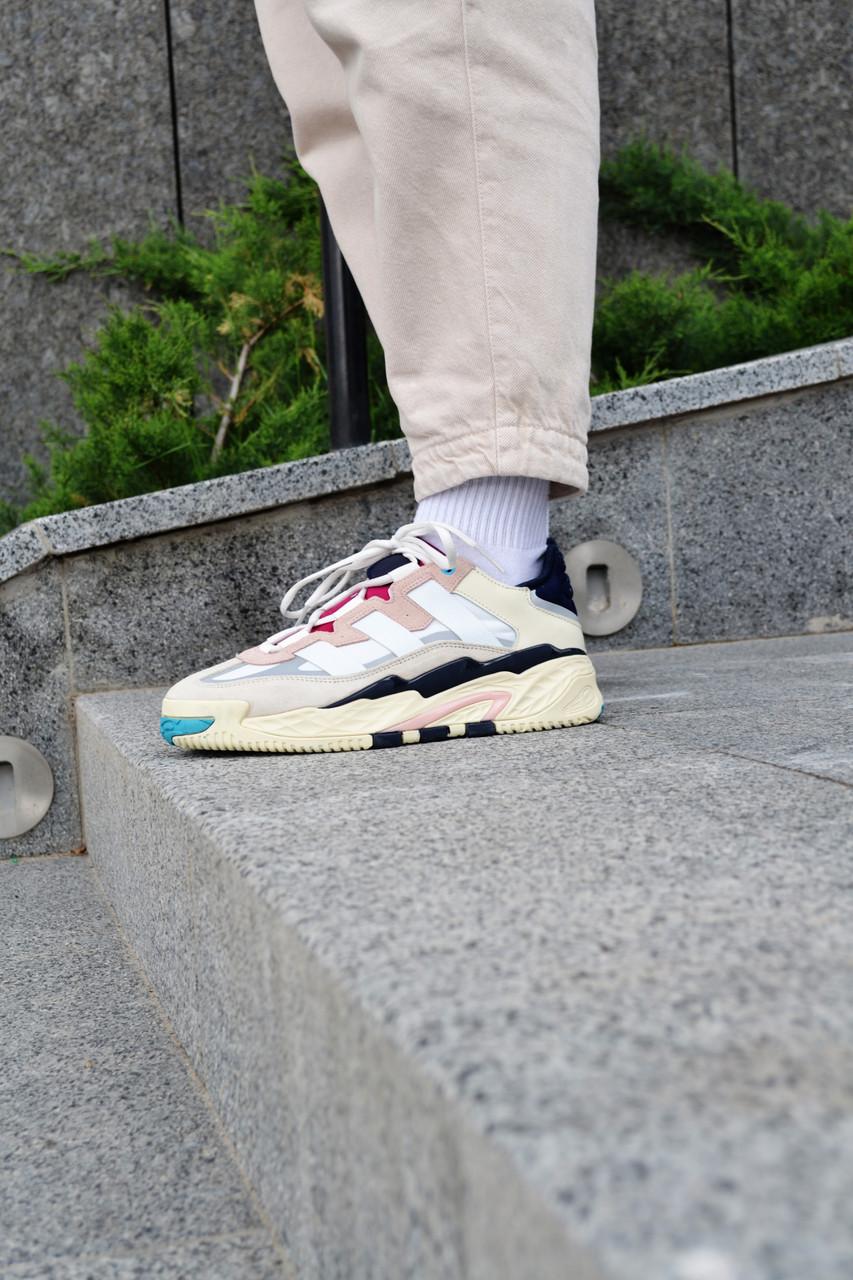Кросівки чоловічі Adidas NiteBall Biege Pink Адідас Найтбол бежево фіолетові Репліка