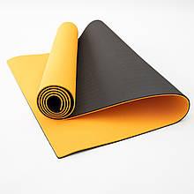 Килимок для йоги та фітнесу TPE (йога мат, каремат спортивний) OSPORT Yoga ECO Pro 6мм (FI-0076) Помаранчево-чорний