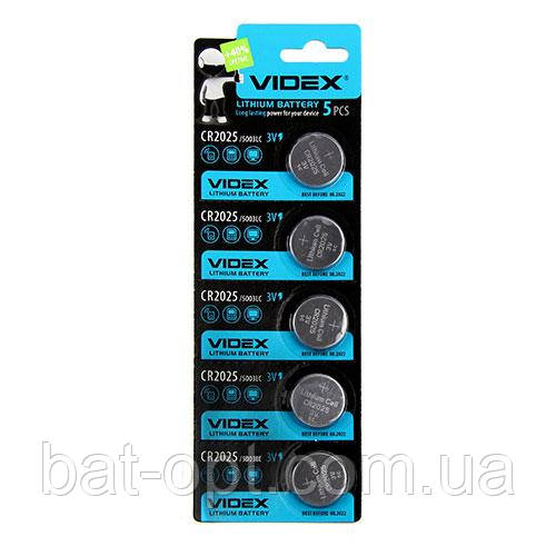 Батарейка литиевая Videx CR2025-U5 Lithium 3V дисковая таблетка