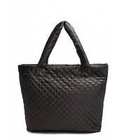 Сумка женская стёганая POOLPARTY Big Eco Bags чёрная, фото 1