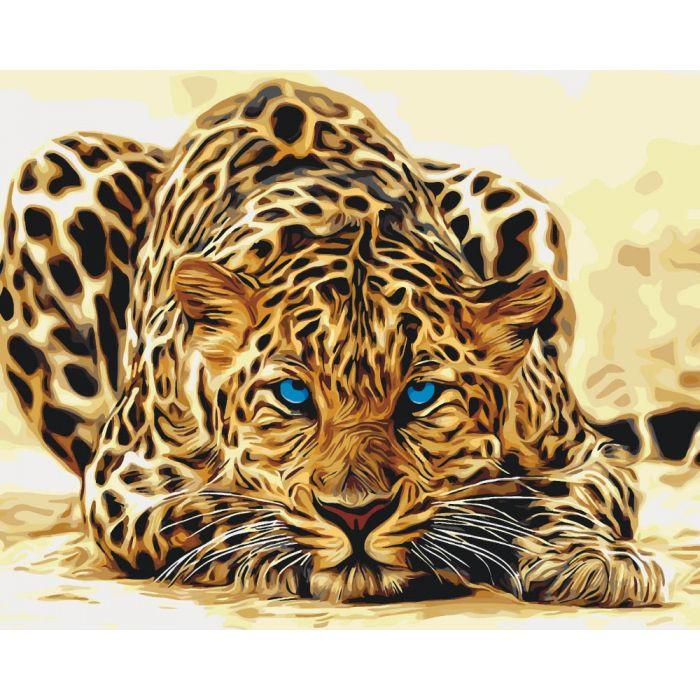 """Картина по номерам. Животные, птицы """"Дикая кошка"""" KHO2450, 40*50 см"""