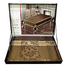 """Скатертина Monfino у валізці """"Шоколадно-коричнева"""" (150x220cm.)"""