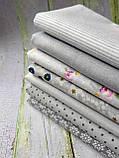 Набор ткани для рукоделия  серая палитра 7шт., фото 2