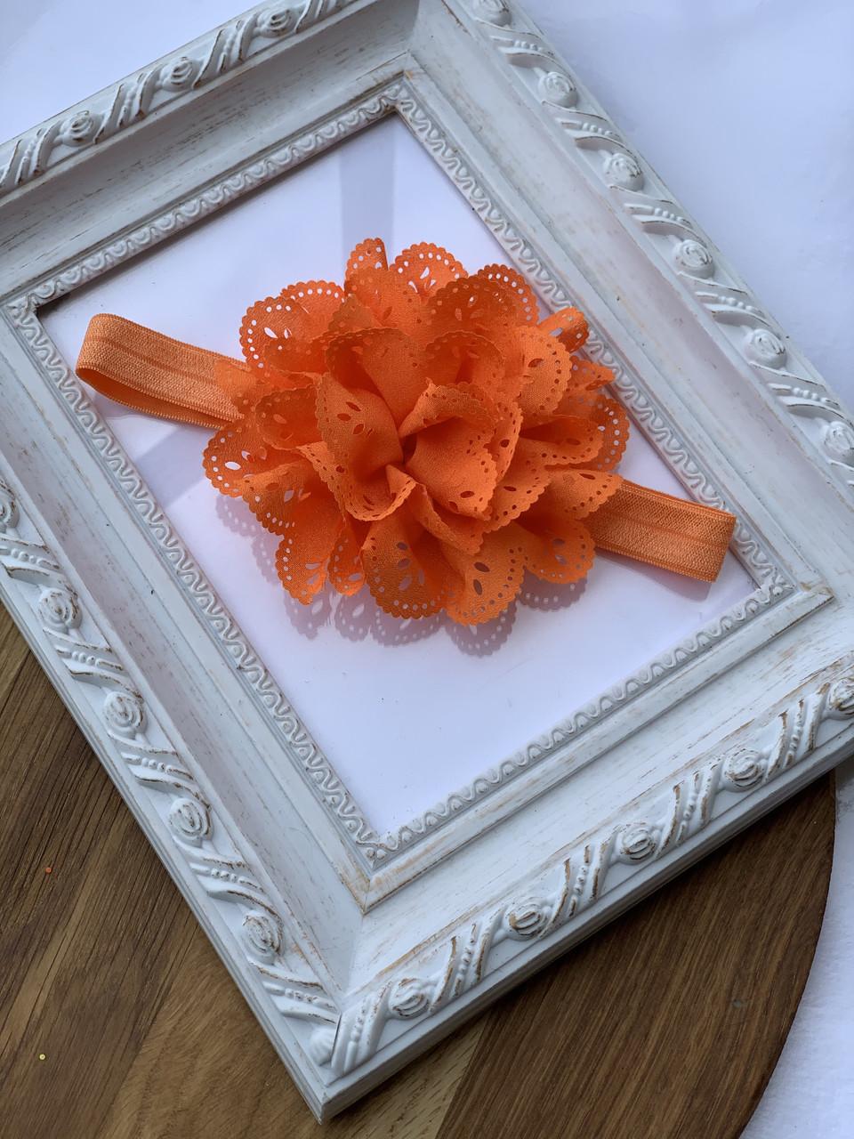 Повязочки на голову оптом Маргаритка, оранжевая
