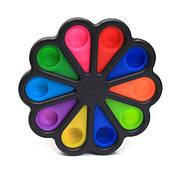 Simple Dimple Антистрес Іграшка Сімпл Дімпл - Pop It - Поп Іт - Попит - Popit) - Чорний Квітка - 10 пупырок