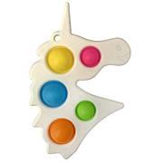 Simple Dimple Антистрес Іграшка Сімпл Дімпл - Pop It - Поп Іт - Попит - Popit) - Білий Єдиноріг з карабіном