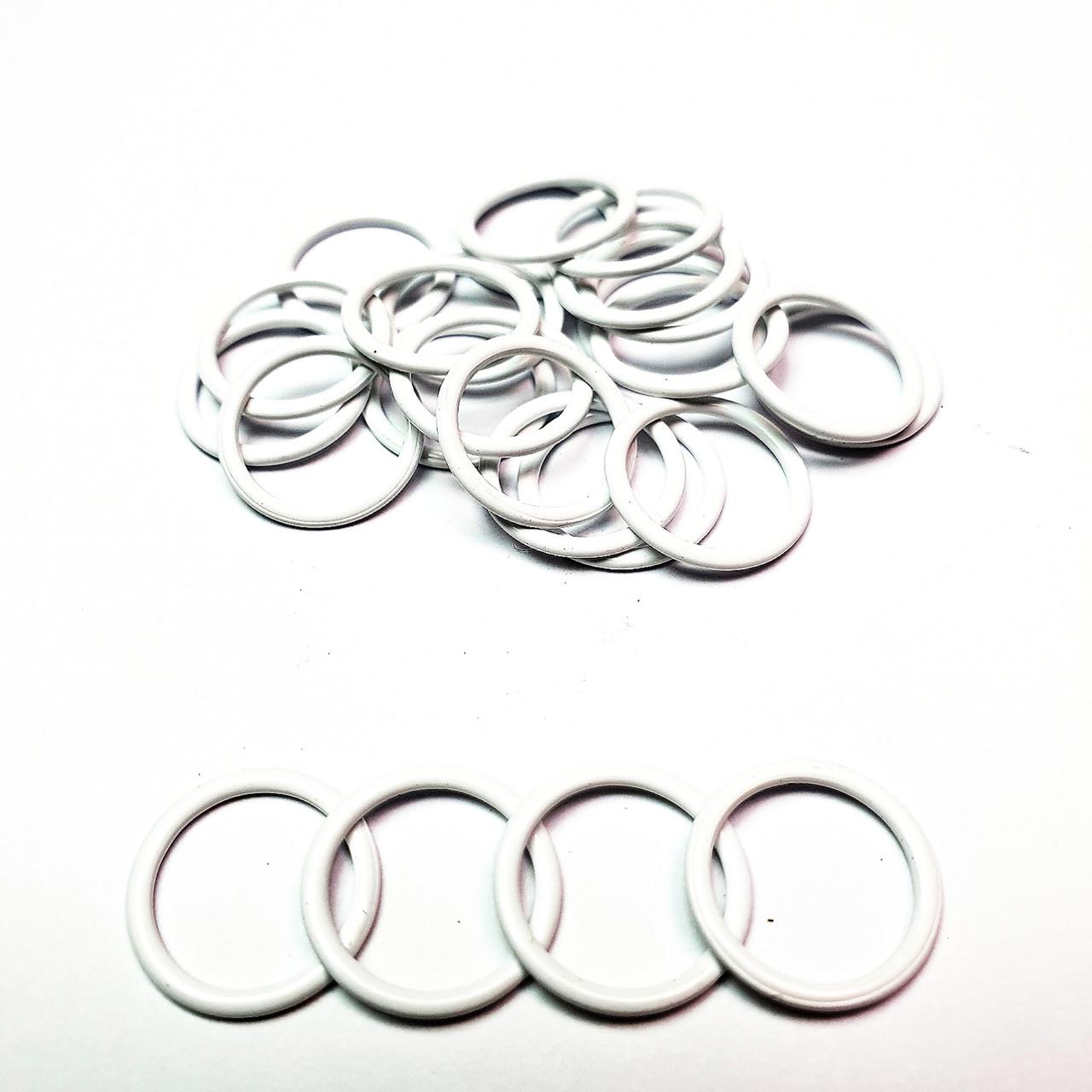 Кольцо для бюстгальтера, для бретелей, регуляторы 15мм металл белый (Крашеный эмаль) (20 шт/уп).