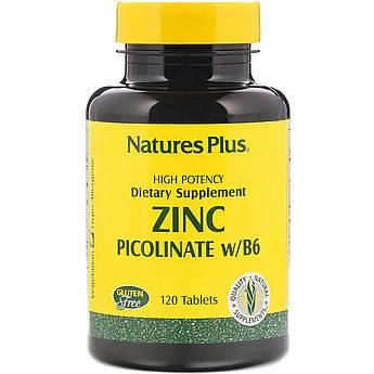 Цинк Пиколинат с Витамином B-6, Natures Plus, 120 таблеток