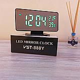 Електронний настільний дзеркальний цифровий лед годинник VST-888Y Світлодіодний Led з термометром, фото 5